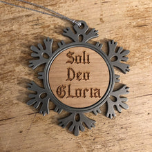 Load image into Gallery viewer, Soli Deo Gloria Text - Metal Ornament - Reformed Christmas Ornament - The Reformed Sage - reformed - reformed gifts - christian gifts - christian hoodie - christian apparel - christian decor - christian art -