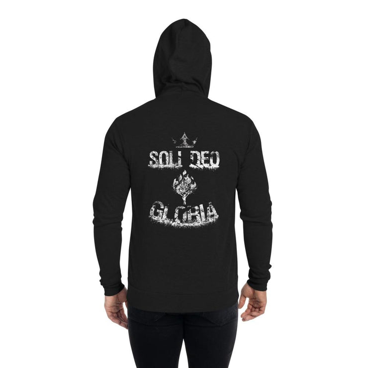 Soli Deo Gloria - Unisex zip hoodie - The Reformed Sage - reformed - reformed gifts - christian gifts - christian hoodie - christian apparel - christian decor - christian art -