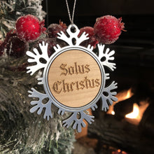 Load image into Gallery viewer, Solus Christus Text - Metal Ornament - Reformed Christmas Ornament - The Reformed Sage - reformed - reformed gifts - christian gifts - christian hoodie - christian apparel - christian decor - christian art -