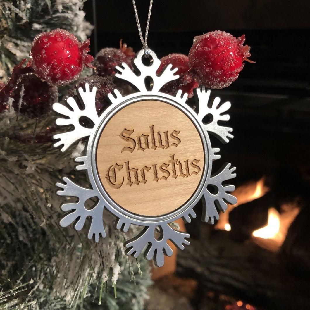 Solus Christus Text - Metal Ornament - Reformed Christmas Ornament - The Reformed Sage - reformed - reformed gifts - christian gifts - christian hoodie - christian apparel - christian decor - christian art -