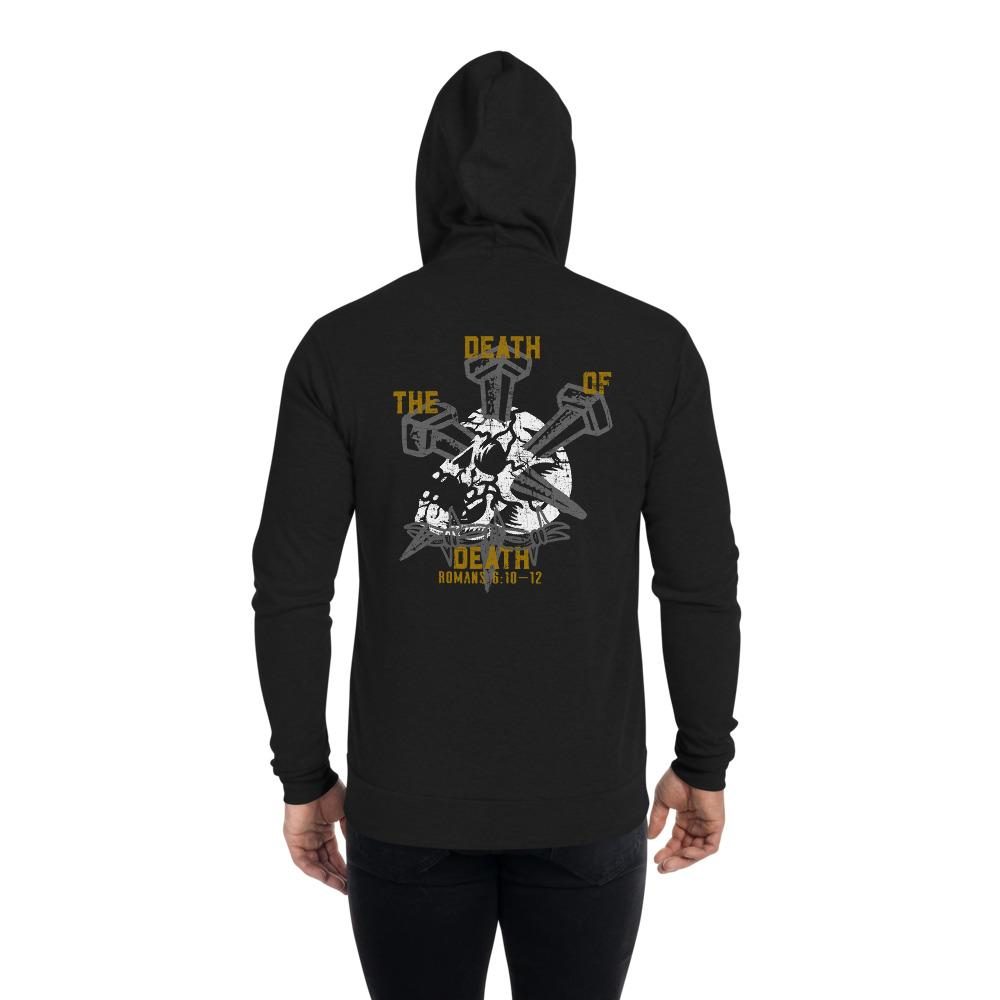 The Death of Death - Unisex zip hoodie - The Reformed Sage - reformed - reformed gifts - christian gifts - christian hoodie - christian apparel - christian decor - christian art -
