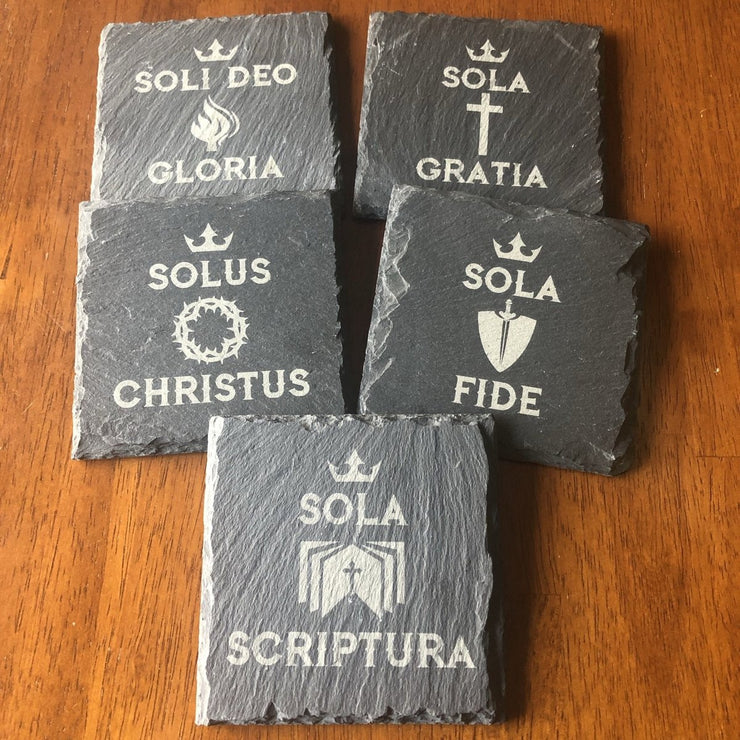 The Five Solas - Slate Coaster - Slate Coaster - The Reformed Sage - reformed - reformed gifts - christian gifts - christian hoodie - christian apparel - christian decor - christian art -