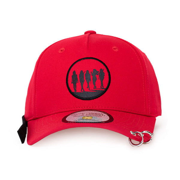 RED VELVET 'BAD BOY DAD HAT WITH LONG STRAP & RINGS'