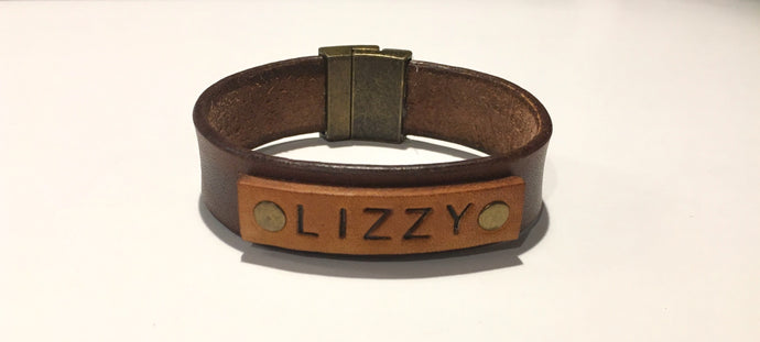 Personalized Name Tag Leather Bracelet with Magnetic Clasp