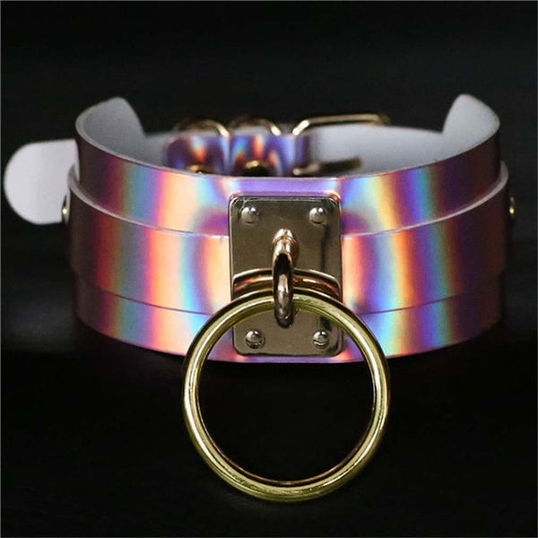 Holographic Leather Choker