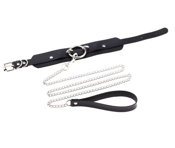 Leash style leather choker