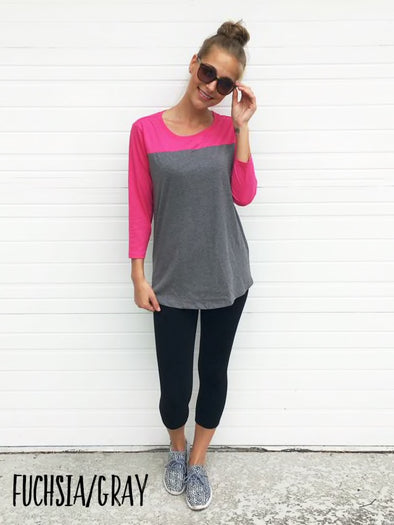 Colorblock 3/4 Sleeve Tee - Fushia/Gray