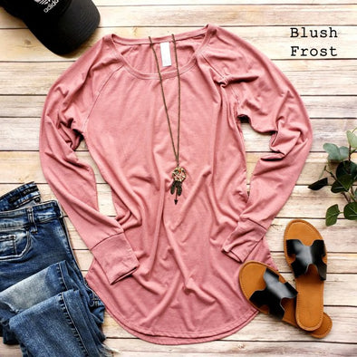 Long Sleeve Longer Length Curved Hem Tunic - Blush
