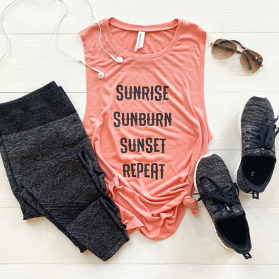 Sunrise Sunburn Sunset Repeat Tank