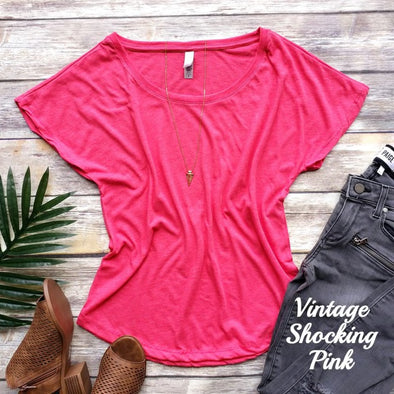 Softest Dolman Tee - Vintage Shocking Pink