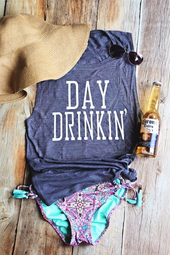 Day Drinkin Muscle Tank - Heather Navy