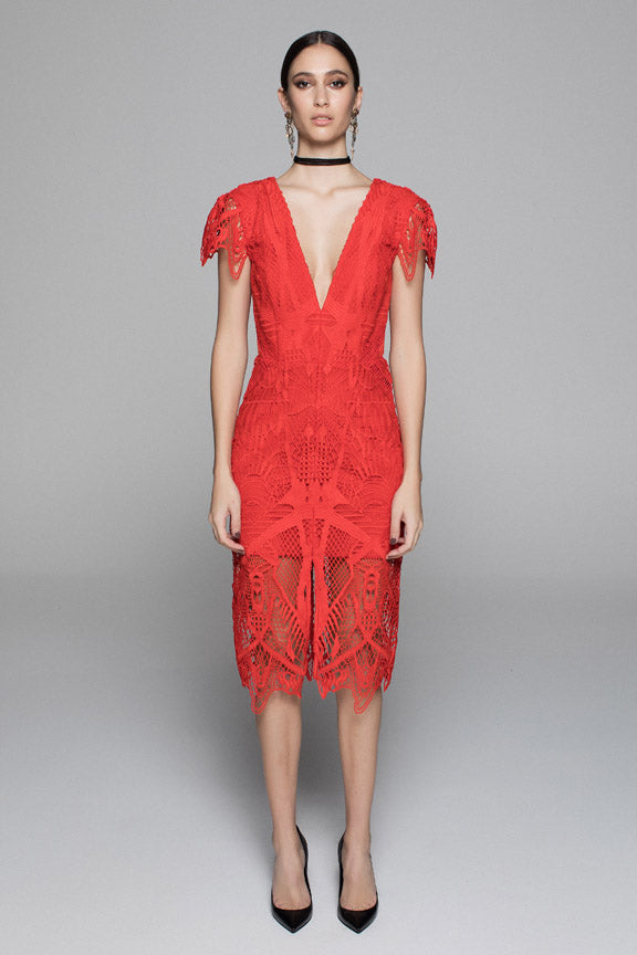 TRIBAL LACE DRESS - RED - $299 ALMOST SOLD OUT