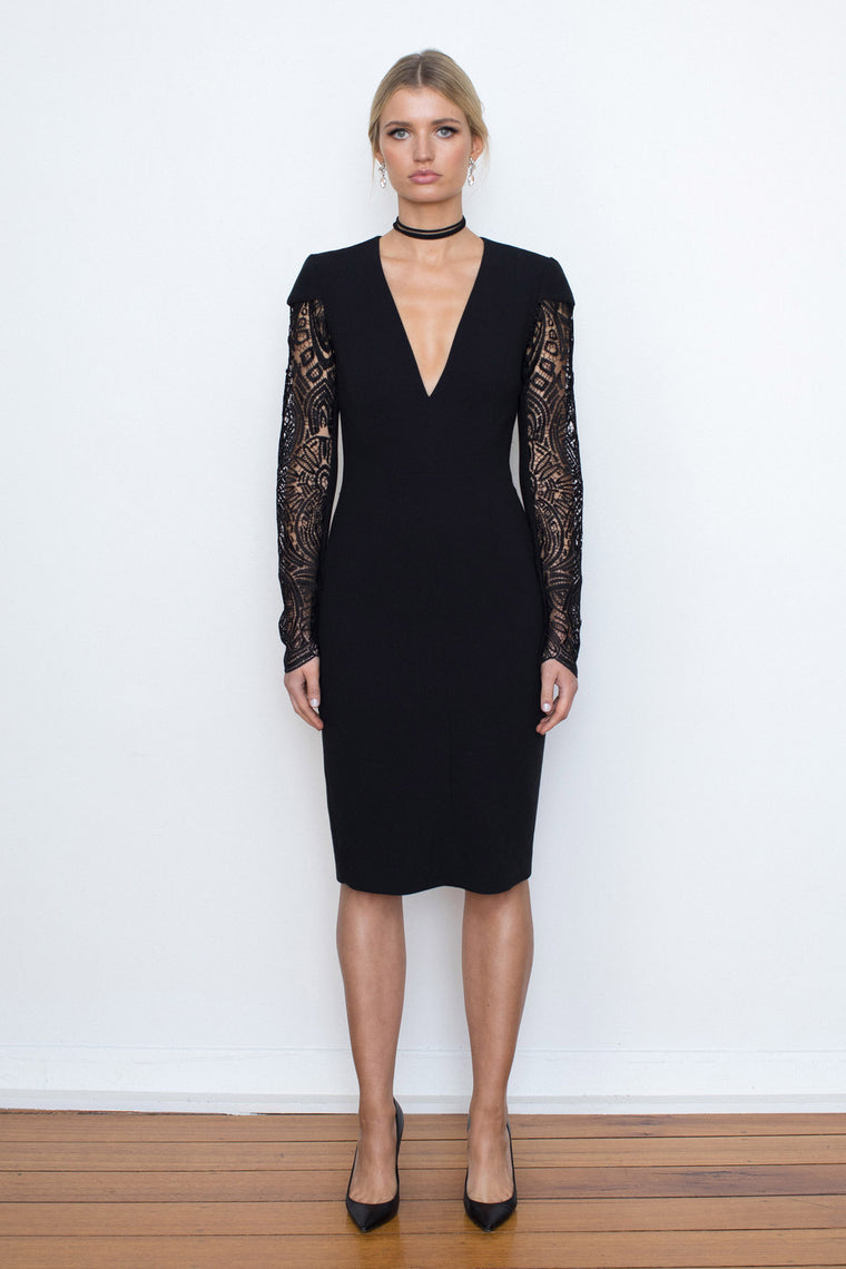 VIXEN LACE SLEEVE CREPE DRESS