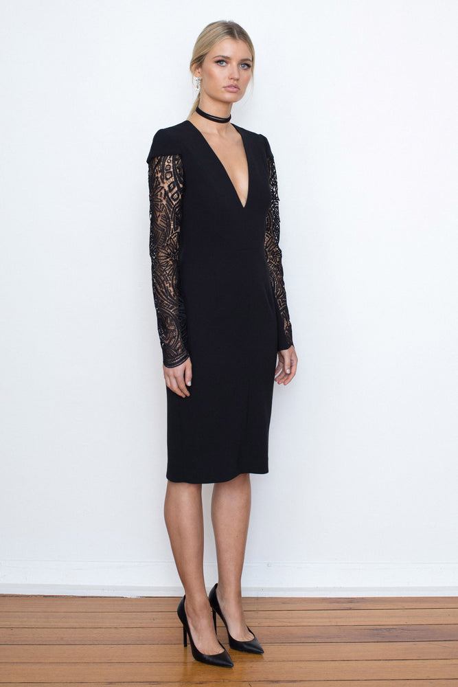 PARISIAN LACE SLEEVE CREPE DRESS - BLACK
