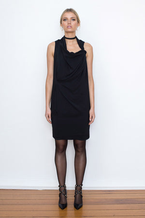 DRAPE & TUCK DRESS - BLACK