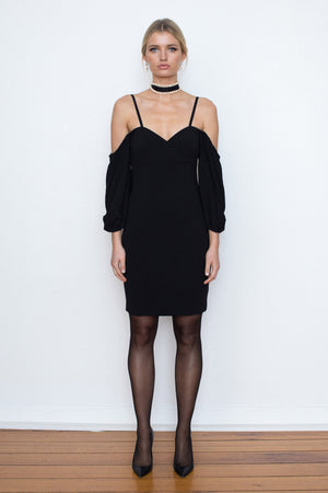Bohemian Shoulder Dress - Black