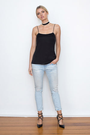 LOVER SILK CAMISOLE - BLACK