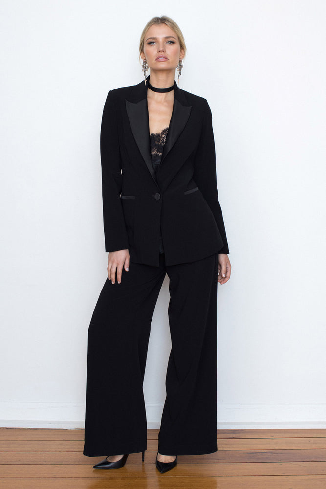 WIDE LEG CREPE TROUSER - BLACK