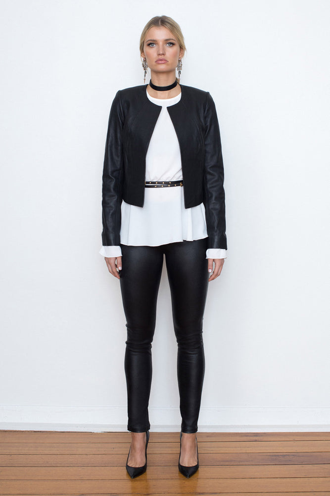 Stretch Leather Cigarette Pant - NEW ARRIVAL - WHITE SUEDE Exclusive