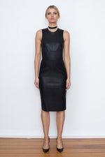 SIGNATURE STRETCH LEATHER DRESS - BLACK