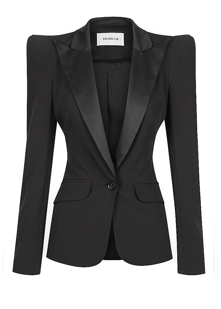 SIGNATURE HIGH SHOULDER TUXEDO JACKET