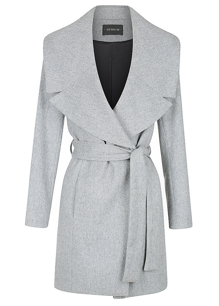 3 POINT CASHMERE COAT GREY MARLE