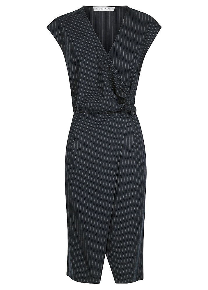 STRIPE LINEN WRAP DRESS - NAVY STRIPE