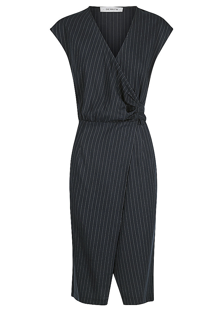 STRIPE LINEN WRAP DRESS