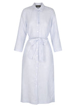 Linen Shirt Dress Lover - Baby Blue Fine Stripe - Plus $60 Code @jacquidemkiw