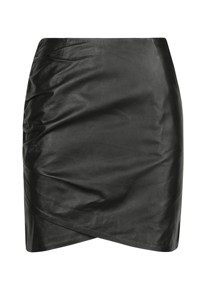 Curve Leather Skirt - WHITE SUEDE