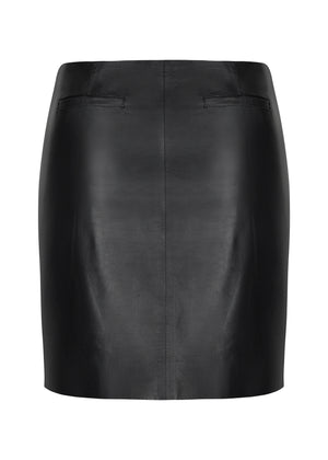 42.5 Micro Curve Leather Mini Skirt - WHITE SUEDE - Black