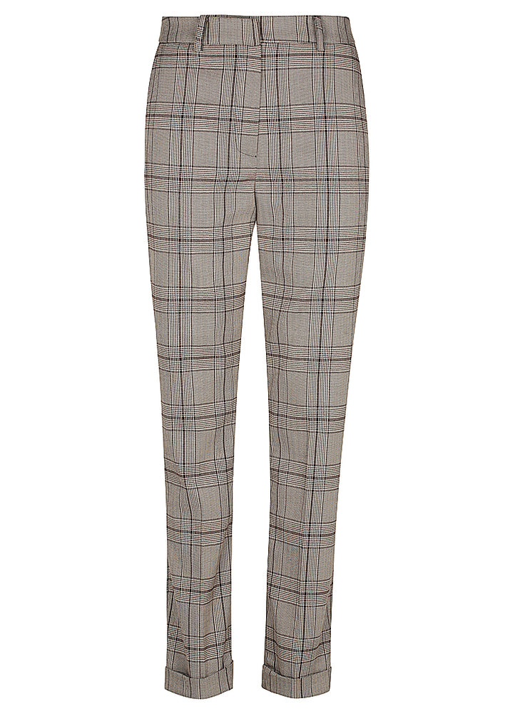 Man Style High Rise Trouser - Check Chocolate