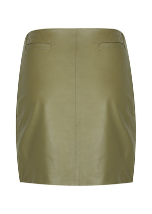 42.5 Micro Curve Leather Mini Skirt - WHITE SUEDE - Khaki