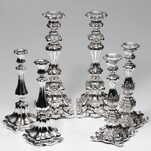 Silver candlestick repair and polishing after.