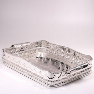 Large silver plated serving tray after resilvering.