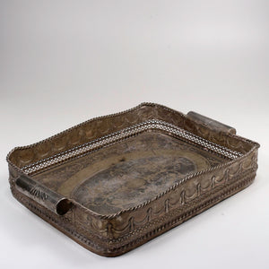 Large silver plated serving tray before resilvering.