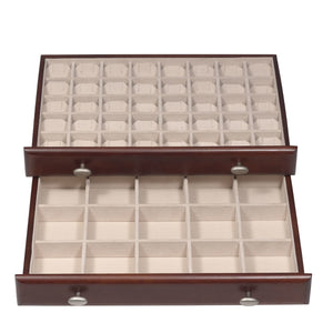 "The top drawer features forty 1 ½"" x 1 ½"" squares with earring cards for optimum protection of fine stores and gems. The second drawer is ideal for brooches, larger earrings."
