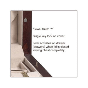 Jewel Safe Lock ™ is an innovative locking mechanism which activates the lock on drawers when the lid is closed. A single key locks the top of the jewelry box.