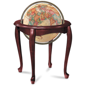 Queen Anne Illuminated Floor Standing World Globe
