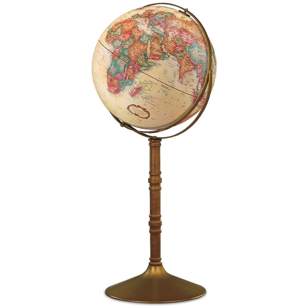 Commander Antique Ocean Floor Standing World Globe Zapffe Silversmiths