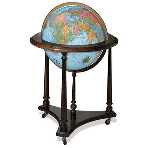 Lafayette Floor Standing World Globe Blue Ocean Raised-Relief