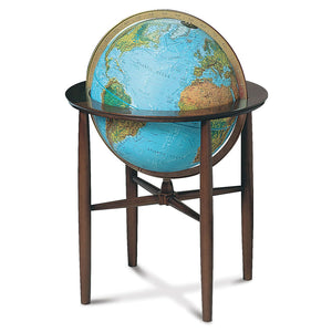 Austin Globe Floor Free Standing World Globe Blue Ocean, Raised-Relief