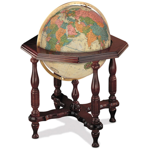 Statesman Floor Standing World Globe Antique Ocean
