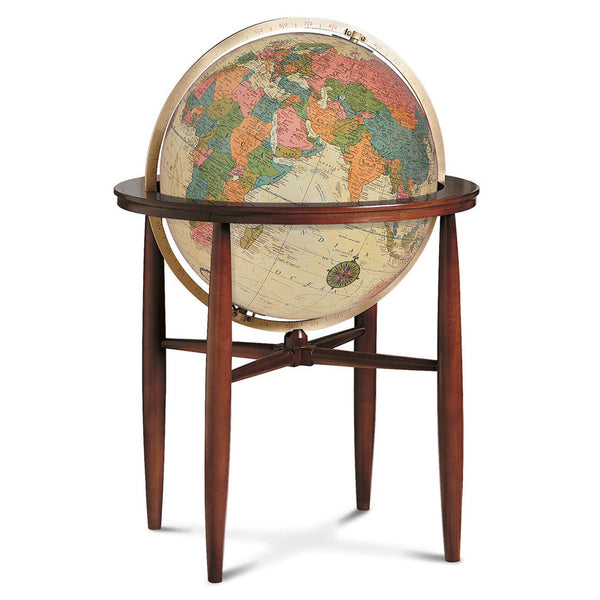 Finley Floor Standing World Globe Antique Ocean