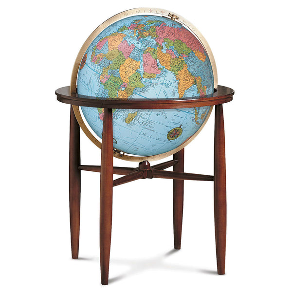 Finley Floor Standing World Globe Blue Ocean