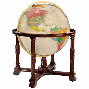Floor Standing World Globe Antique Ocean