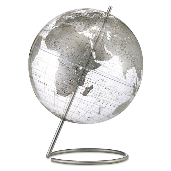 Crystal Marquise World Desk Globe Silver Land