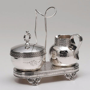 Silverplated Tuffts Silver Company Sugar and Creamer Caddy