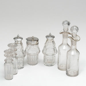 Bottles include but not believed to be original are: Salt, Pepper, Mustard, 2 tall Oil and Vinegar, 2 short Oil and Vinegar