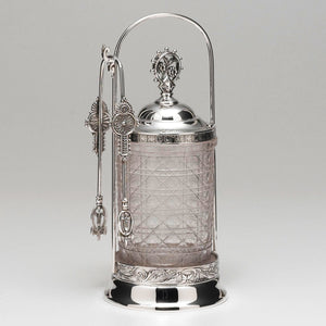 "Meriden Victorian Silver Plated Pickle Jar. Measures: 9 3/4"" high by 4 1/8"" at the base."